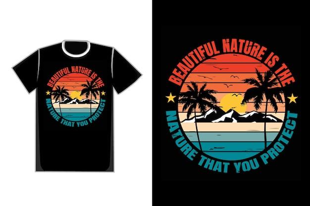 T-shirt typographie silhouette montagne nature plage rétro style vintage