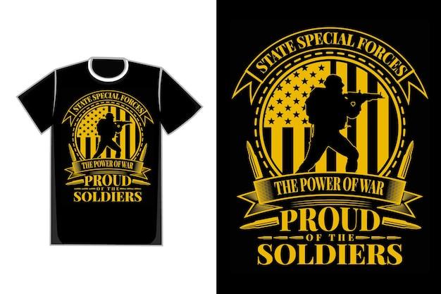 T-shirt typographie soldats des forces spéciales style vintage