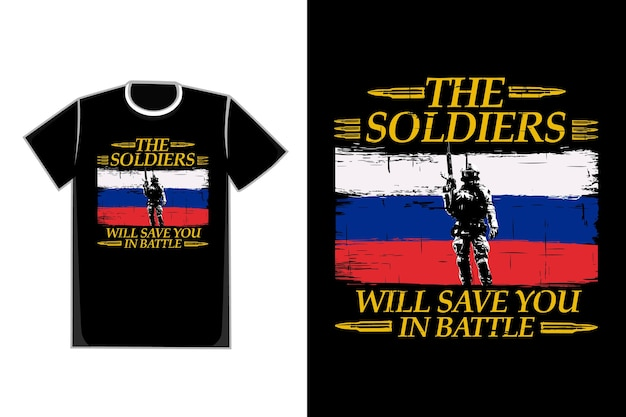 T-shirt typographie soldats silhouette style vintage