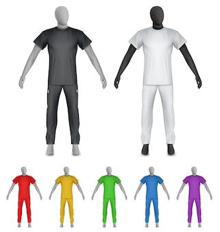 T-shirt uni et pantalons de survêtement sur le modèle de mannequin