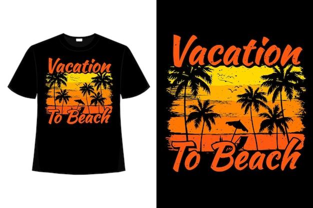 T-shirt vacances plage palmier coucher de soleil style brosse rétro vintage illustration