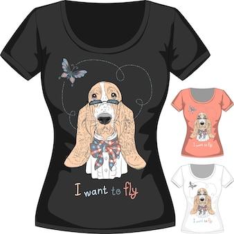 T-shirt de vecteur avec chien basset hound