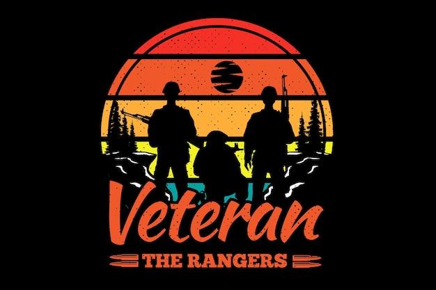 T-shirt vétéran rangers pin typographie rétro vintage illustration