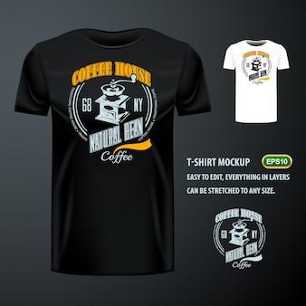 T-shirt vintage avec élégant broyeur de grains de café. maquette modifiable