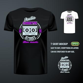 T-shirt vintage avec une élégante cassette audio. maquette modifiable