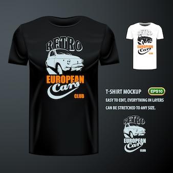 T-shirt vintage avec une voiture européenne élégante. maquette modifiable