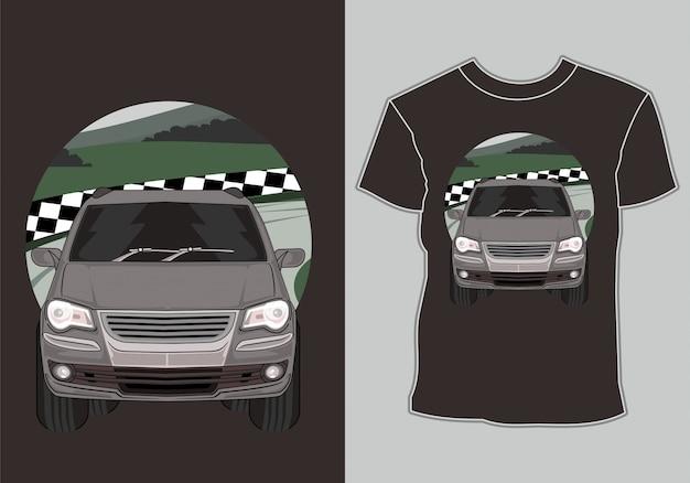 T-shirt de voiture de course avec des illustrations voiture de course classique, vintage, rétro