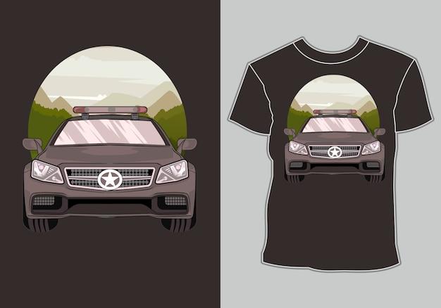 T-shirt de voiture de course avec des illustrations voiture de course de sport moderne