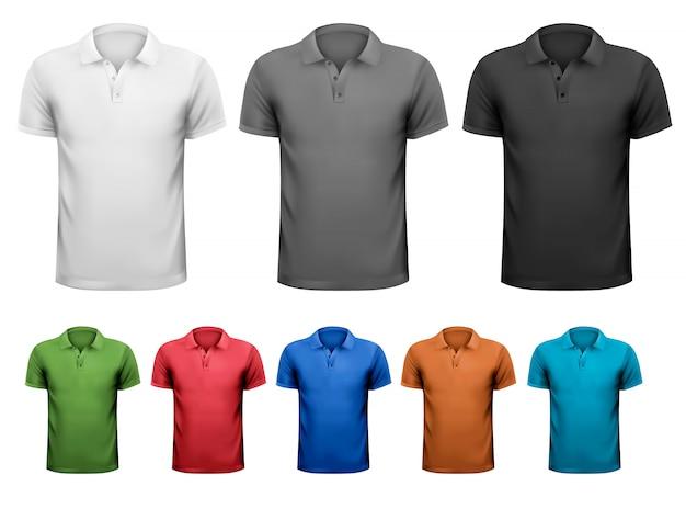 T-shirts homme noir et blanc et couleur. illustration