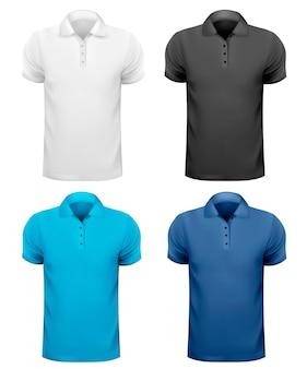 T-shirts homme noir et blanc et couleur. modèle de conception.