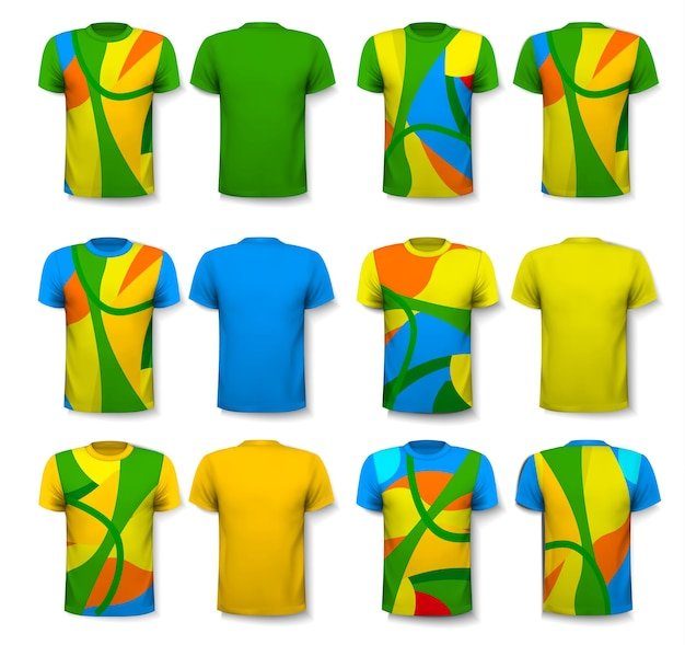 T-shirts masculins abstraits colorés. modèle de conception. vecteur.