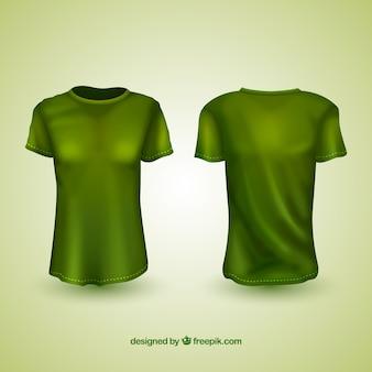 T-shirts réalistes dans différentes vues