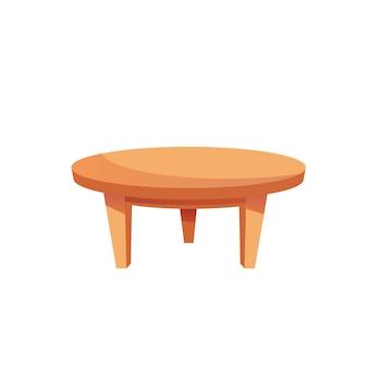 Table basse ronde de dessin animé plat de vecteur isolé sur le concept d'éléments intérieurs de fond-maison vide et d'éléments intérieurs de chambre, conception d'annonce de bannière de site web