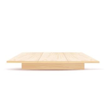 Table en bois réaliste avec vue de face isolé sur fond blanc