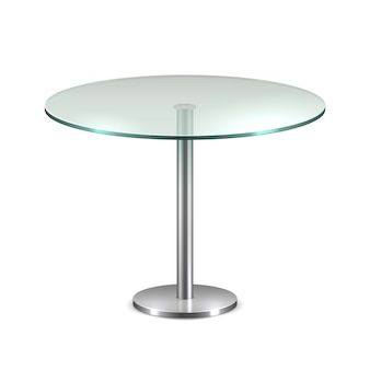Table de bureau ronde en verre vide avec support en métal isolé