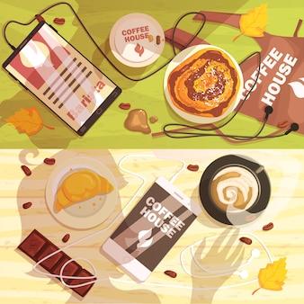 Table de café avec des tasses et des collations ombres de personnes