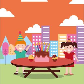 Table de célébration joyeux anniversaire enfants