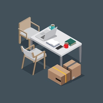 Table et chaise espace de travail sur fond sombre