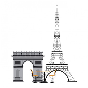 Table et chaise vintage sur la tour eiffel