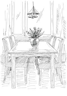 Table et chaises. sur la table vase de fleurs. illustration vectorielle. dessiné à la main.
