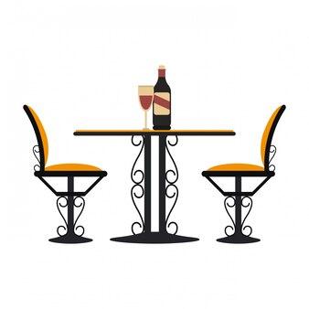 Table et chaises vintage avec du vin
