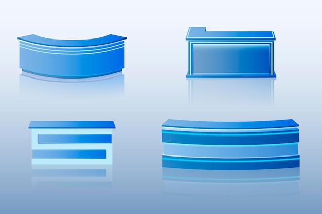 Table de comptoir de réception réaliste dans la collection bleue