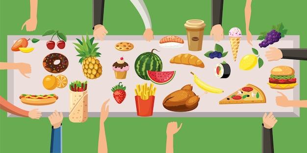 Table de concept de fond horizontal alimentaire