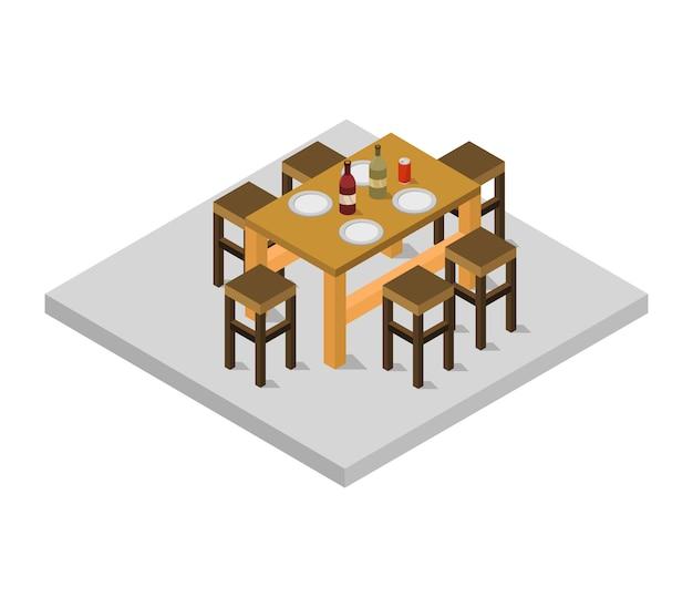 Table de cuisine isométrique