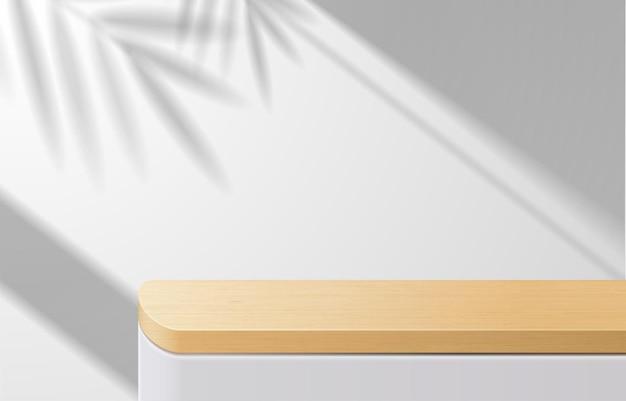 Table de dessus en bois minimale vide, podium en bois sur fond blanc avec des feuilles d'ombre. pour la présentation du produit, la maquette, l'exposition de produits cosmétiques, le podium, le piédestal de scène ou la plate-forme. vecteur 3d
