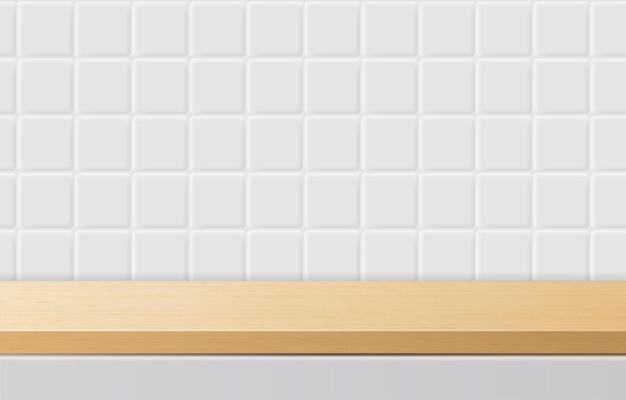 Table de dessus en bois minimale vide, podium en bois sur fond blanc. pour la présentation du produit, la maquette, l'exposition de produits cosmétiques, le podium, le piédestal de scène ou la plate-forme. vecteur 3d