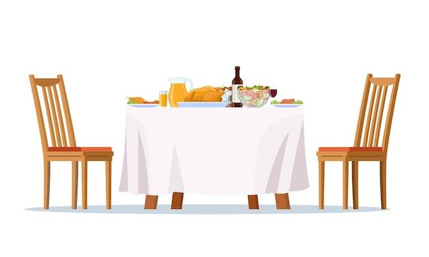Table dressée, plats de dîner de fête,
