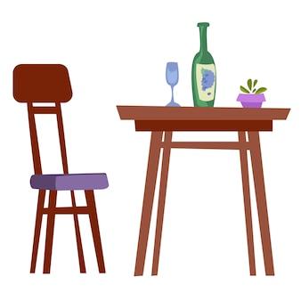 La table est mise pour une personne. vin et verre illustration vectorielle en style cartoon