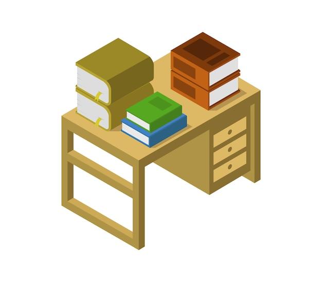 Table isométrique avec des livres