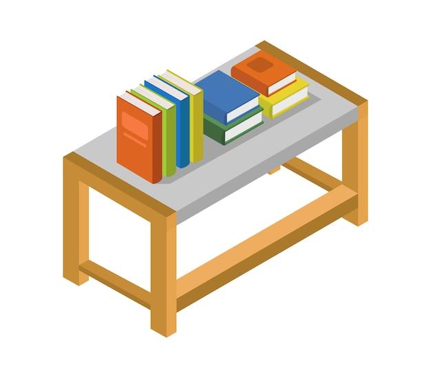 Table avec livres isométriques