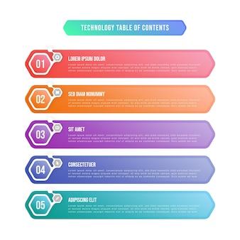 Table des matières en dégradé infographique