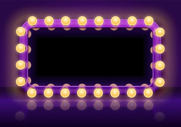 Table miroir de maquillage. cadre de lumières de miroirs dans les coulisses, miroir de dressing avec illustration vectorielle d'ampoules d'éclairage