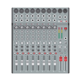 Table de mixage de concert vector design plat avec curseurs à boutons et entrées