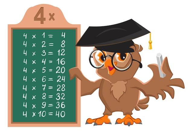 Table de multiplication de cours de mathématiques de 4 par des nombres. le professeur d'oiseaux hibou au tableau noir montre le tableau de multiplication.