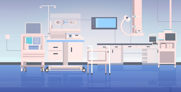 Table d'opération de l'hôpital et dispositifs médicaux clinique moderne salle de chirurgie hôpital intérieur thérapie intensive concept de procédures chirurgicales horizontal