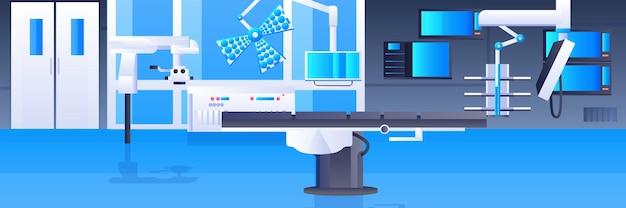 Table d'opération d'hôpital et dispositifs médicaux salle de chirurgie clinique moderne thérapie intensive intérieure procédures chirurgicales concept horizontal