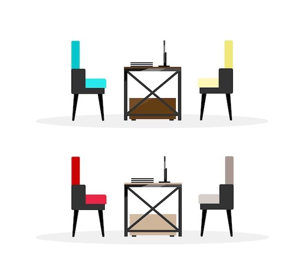Table d'ordinateur avec chaises ensemble d'objets de couleur plate. table avec vue latérale paravent et fauteuils. mobilier de bureau dessin animé isolé