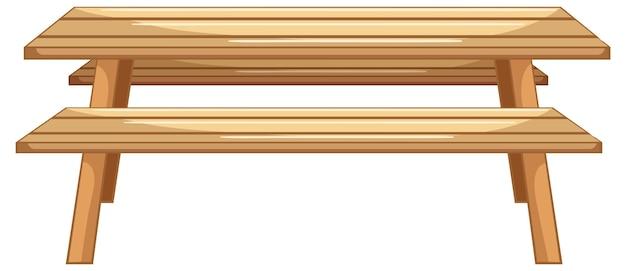 Table de pique-nique en bois sur fond blanc