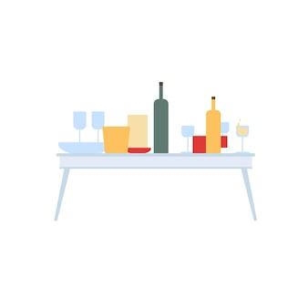 Table plate de dessin animé de vecteur avec des bouteilles, des verres et des boissons isolés sur fond vide-célébration ou événement de fête, concept d'éléments intérieurs de la salle, conception d'annonce de bannière de site web