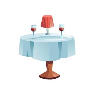 Table plate de dessin animé de vecteur avec la nappe, la lampe et deux verres de vin d'isolement sur le fond vide-café ou le restaurant visitant, dîner romantique à la maison concept, conception d'annonce de bannière de site web