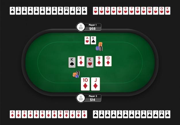 Table de poker. salle de poker en ligne. jeu complet de cartes à jouer. illustration du jeu texas hold'em.