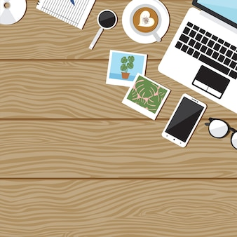 Table de poste de travail office workspace computer flat view