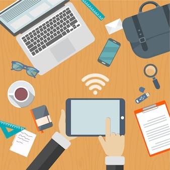 Table avec réseau wifi