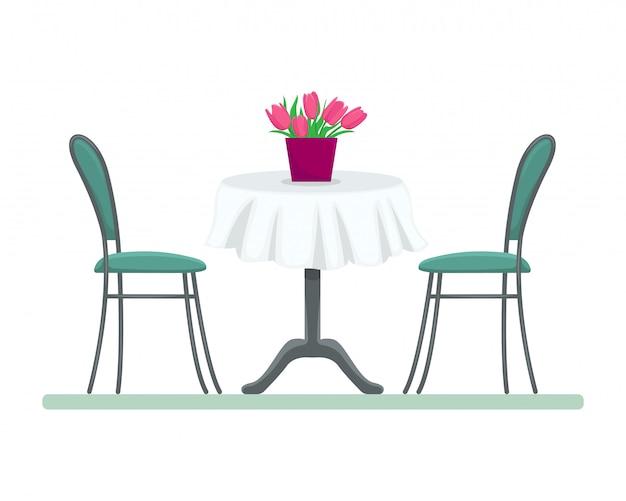 Table de restaurant avec des chaises et un bouquet de tulipes. illustration plate isolée.