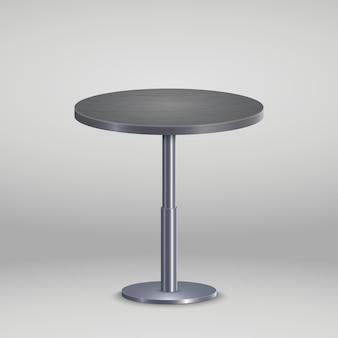Table ronde avec plaque de bois