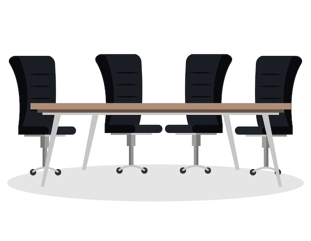 Table de salle de réunion et chaises scène vector illustration design